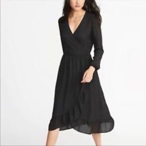 Old Navy Black Faux Wrap Ruffle Bottom Midi Dress